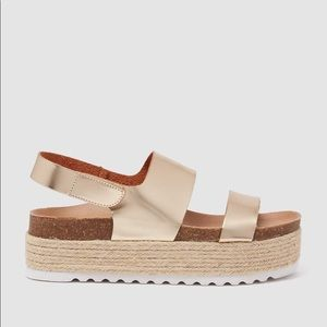 Dirty Laundry Gold Espadrille Flatform Sandals